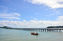 Fishing Boat and Bridge for walk way at Rawai Beach of Phuket Thailand Stock Image