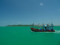 Fishing boat. Came back to pier thailand Stock Photos