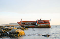 Fishing boat capsized. Stock Images