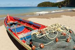 Fishing Boat On A Caribbean Beach Stock Images