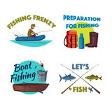 Fishing from a boat cartoon icon set design Stock Photography