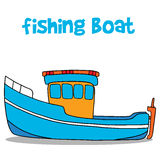 Fishing boat cartoon vector art Royalty Free Stock Image