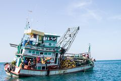 Fishing boat. The fishing boat with a catch in the ocean stock images