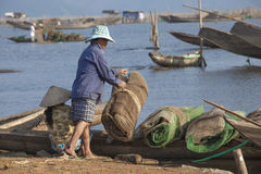 Fishing Boat on Cau Hai Lagoon, Vietnam. Royalty Free Stock Photography