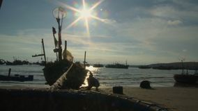 Fishing boat cleaning stock footage