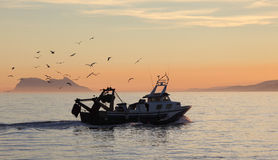 Fishing boat coming back home Stock Images