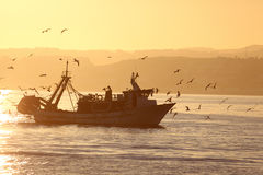 Fishing boat coming back home Stock Photo