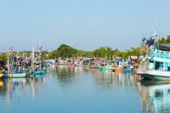 Fishing boat comunity in Thailand Royalty Free Stock Image