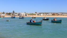 Fishing boat and cormorants Stock Image