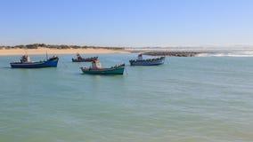 Fishing boat and cormorants Stock Photo