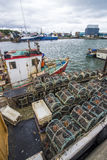 Fishing boat with crab pots Royalty Free Stock Images