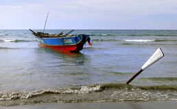 Fishing boat Currimao Beach. Royalty Free Stock Images