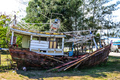 Fishing boat damage from storm Royalty Free Stock Image