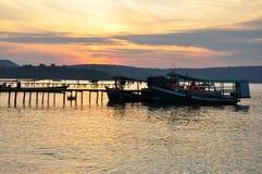 Fishing boat at dawn, Koh Rong, Cambodia Royalty Free Stock Image