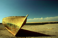 Fishing boat in the desert Stock Photo