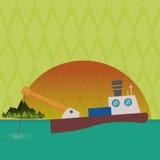 Fishing boat design. sea concept. sport illustration Stock Images