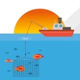 Fishing boat design. sea concept. sport illustration Royalty Free Stock Images