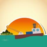 Fishing boat design. sea concept. sport illustration Stock Photos