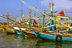 Fishing boat. The fishing doat stops to avoid, dlue sky, cloud white Stock Photo