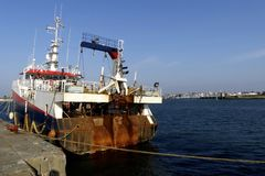 Fishing boat docked at Keroman wharf, Lorient, Brittany, France. Royalty Free Stock Images