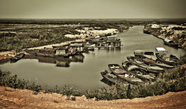 Fishing boat docked in the river Stock Image