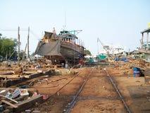 Fishing boat on dockyard Stock Images