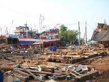 Fishing boat on dockyard Stock Photo