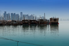 Fishing boat in Doha port Stock Images