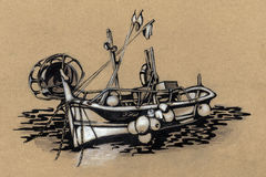 Fishing boat. drawing. Old fishing boat. sea. retro style. vintage. freehand drawing. pastel pencil. beige color Royalty Free Stock Image