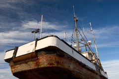 Fishing boat in dry dock Royalty Free Stock Photography