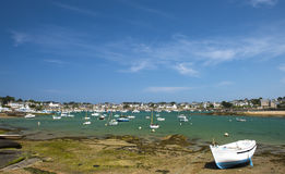 Fishing boat at ebb tide in Bretagne, France Stock Images