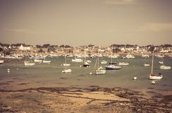 Fishing boat at ebb tide in Bretagne, France Royalty Free Stock Photography