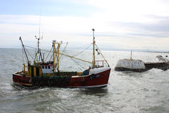 Fishing boat entering Arbroath Harbour, Arbroath Stock Image