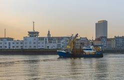 Fishing Boat in Ostend Harbor, Belgium stock photos