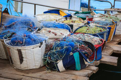 Fishing boat equipment detail, Cyprus Stock Images