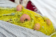 Fishing boat equipment detail: net, arts macro. Mediterranean sea Royalty Free Stock Image