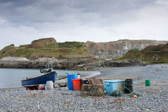Fishing Boat and Equipment with Quarry Royalty Free Stock Photos