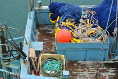 Fishing Boat. Fishing equipment on the stern of a boat Stock Photo