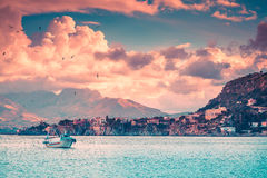 Fishing boat in evening near the Milazzo cape Royalty Free Stock Image