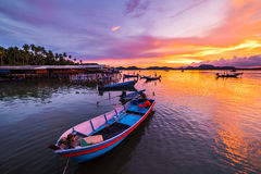 Fishing boat In the evening sea. In thailand Royalty Free Stock Photos