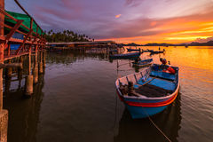 Fishing boat In the evening sea. In thailand Stock Photos