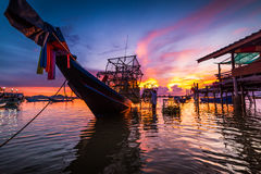 Fishing boat In the evening sea. In thailand Royalty Free Stock Images