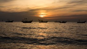 Fishing boat in the evening. stock photo