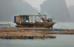 Fishing boat at fish farm in Halong bay, Vietnam Royalty Free Stock Photography