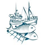 Fishing vessel and fish. Fishing boat and fish in networks silhouette Stock Photo