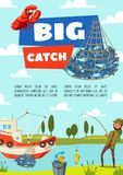 Fishing boat and fish, rod and tackle. Fishing boat and fisherman with fish catch in net, lure and tackle, bait, rod and hook. Man fishing on river, vector vector illustration