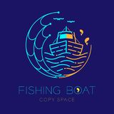 Fishing boat, fish, seagull, wave and Fishing net circle shape logo icon outline stroke set dash line design illustration. Isolated on dark blue background and Stock Image