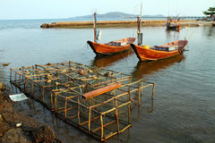 Fishing boat and Fish Trap Royalty Free Stock Photos