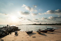 Fishing Boat at Fisherman village in Rayong Royalty Free Stock Images
