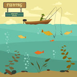 Fishing on the boat. Fishing design elements Stock Images